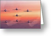 Raf Digital Art Greeting Cards - Red Arrows at Dawn Greeting Card by Chris Lord