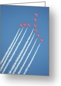 Raf Greeting Cards - Red Arrows in action Greeting Card by Paul Cowan