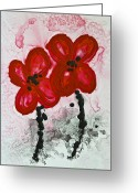 Black And White Canvas Greeting Cards - Red Asian Poppies Greeting Card by Sharon Cummings
