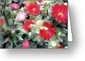 Aster  Painting Greeting Cards - Red Asters Greeting Card by Elaine Plesser