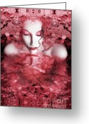Wondrous Digital Art Greeting Cards - Red Autumn - Self Portrait Greeting Card by Jaeda DeWalt