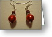 Earrings Jewelry Greeting Cards - Red Ball Drop Earrings Greeting Card by Jenna Green