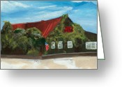 Grayton Beach Greeting Cards - Red Bar - Blue Sky Greeting Card by Racquel Morgan
