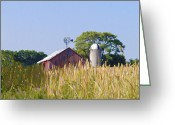 Silo Greeting Cards - Red Barn and Wheat Field Greeting Card by Bill Cannon