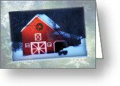 Snow Scenes Greeting Cards - Red Barn and Wreath-Holiday Greeting Cards Greeting Card by Thomas Schoeller