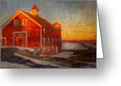 Birds Pyrography Greeting Cards - Red Barn At Dusk Greeting Card by Michael Petrizzo
