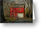 Sharon Obrien-huey Greeting Cards - Red Barn In Alloway Greeting Card by Sharon OBrien-Huey