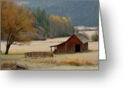 Idaho Greeting Cards - Red Barn in Autumn Greeting Card by Idaho Scenic Images Linda Lantzy