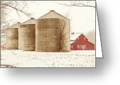 Silo Greeting Cards - Red Barn in Snow Greeting Card by Marilyn Hunt