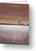 Red Barn Greeting Cards - Red Barn in Snow Greeting Card by Toni Grote