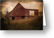 Red Photographs Greeting Cards - Red Barn In The Evening Greeting Card by Kathy Jennings