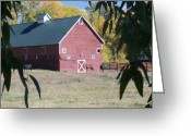 Ble Sky Greeting Cards - Red Barn Greeting Card by Tami Garcia