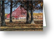 Red Barn Greeting Cards - Red Barn through The Trees Greeting Card by Pamela Baker