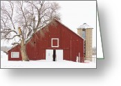 Barn Images Greeting Cards - Red Barn Winter Country Landscape Greeting Card by James Bo Insogna