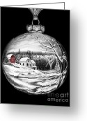 Bear Drawings Greeting Cards - Red Barn Winter Scene Ornament  Greeting Card by Peter Piatt