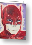 Old Tv Painting Greeting Cards - Red Batman Greeting Card by Ronald Greer