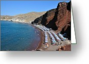 Suntan Greeting Cards - Red beach Greeting Card by George Atsametakis