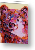 Stylized Art Greeting Cards - Red Bear Greeting Card by Bob Coonts