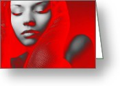 Makeup Greeting Cards - Red Beauty  Greeting Card by Irina  March