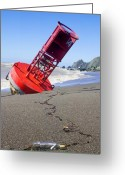 United States Of America Photo Greeting Cards - Red bell buoy on beach with bottle Greeting Card by Garry Gay