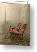 Autumnal Digital Art Greeting Cards - Red bench in the fog Greeting Card by Jaroslaw Grudzinski