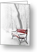 Landscape Greeting Cards - Red bench in the snow Greeting Card by  Jaroslaw Grudzinski