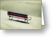 Melancholic Greeting Cards - Red Bench Greeting Card by Joana Kruse