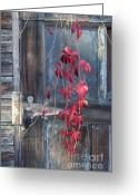 Red Leaves Pastels Greeting Cards - Red Greeting Card by Bernadette Kazmarski