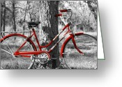 Bicycle Greeting Cards - Red Bicycle Ii Greeting Card by James Granberry