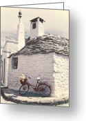 Basket Greeting Cards - Red Bicycle Greeting Card by Joana Kruse