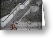 Bicycle Greeting Cards - Red Bicycle Greeting Card by Kevin Bergen