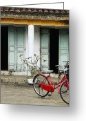 Tiled Roof Greeting Cards - Red Bikes Parked in Front of a Weathered Building Greeting Card by Skip Nall