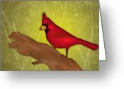 Featured Digital Art Greeting Cards - Red Bird Greeting Card by Melisa Meyers