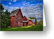 Red Barns Greeting Cards - Red Blue and Green Barns at Windsor Castle Greeting Card by Williams-Cairns Photography LLC