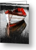 Black And White Digital Art Greeting Cards - Red Boat Greeting Card by Dapixara Art