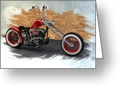 Motorcycle Art Greeting Cards - Red Bobber Greeting Card by Louis Ferreira