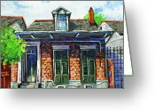 Street Scene Greeting Cards - Red Brick Shotgun Greeting Card by Dianne Parks