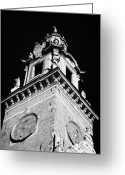 Old Krakow Greeting Cards - red brick Wawel cathedral clock tower at the entrance to Wawel Castle Krakow Greeting Card by Joe Fox