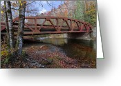 Brooks Greeting Cards - Red Bridge Greeting Card by Debra and Dave Vanderlaan