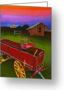 Old Barn Pastels Greeting Cards - Red Buckboard Wagon Greeting Card by Stephen Anderson
