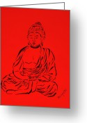 Faith Greeting Cards - Red Buddha Greeting Card by Pamela Allegretto