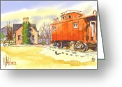 Water Colours Greeting Cards - Red Caboose at Whistle Junction Ironton Missouri Greeting Card by Kip DeVore
