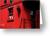 Train Car Greeting Cards - Red Caboose Greeting Card by Scott Hovind