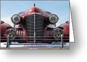 Antique Automobile Greeting Cards - Red Cadillac Greeting Card by Dennis Hedberg