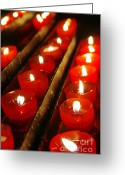 Xmas Greeting Cards - Red Candles Greeting Card by Carlos Caetano