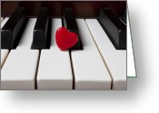 Pianos Greeting Cards - Red candy heart  Greeting Card by Garry Gay