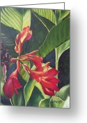 Canna Greeting Cards - Red Cannas Greeting Card by Deleas Kilgore