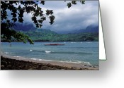 Hawaiian Art Photo Greeting Cards - Red Canoe on Hanalei Bay Greeting Card by Kathy Yates