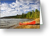 Scenic Greeting Cards - Red canoe on lake shore Greeting Card by Elena Elisseeva