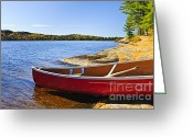 Scenic Greeting Cards - Red canoe on shore Greeting Card by Elena Elisseeva